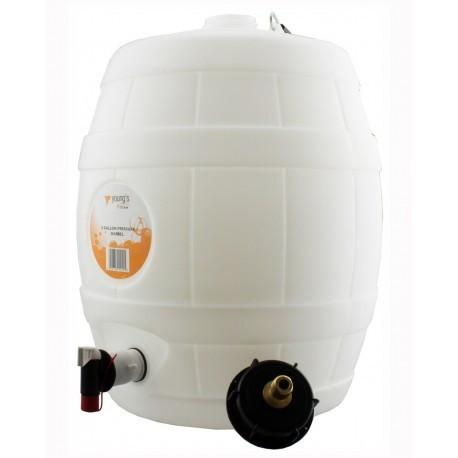 5 Gallon White Keg Barrel with 2
