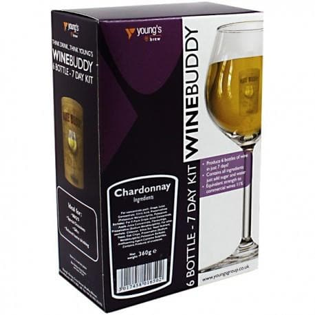 WineBuddy - Chardonnay - 7 Day Wine Kit - 6 Bottles