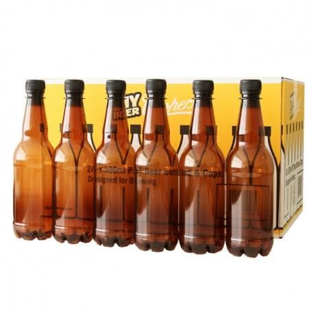 Beer Bottles - 500ml Plastic PET - Brown/Amber - Screw Top - 24 Pack - Coopers
