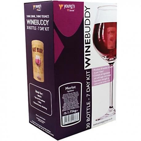 WineBuddy - Merlot - 7 Day Red Wine Kit - 30 Bottles