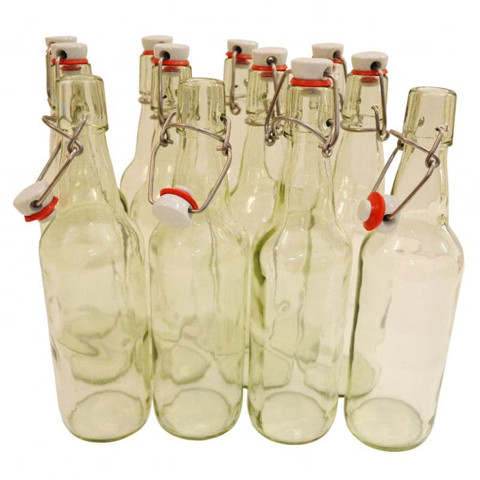 Glass Swing Top Bottles - 500ml - Clear - 12 Pack