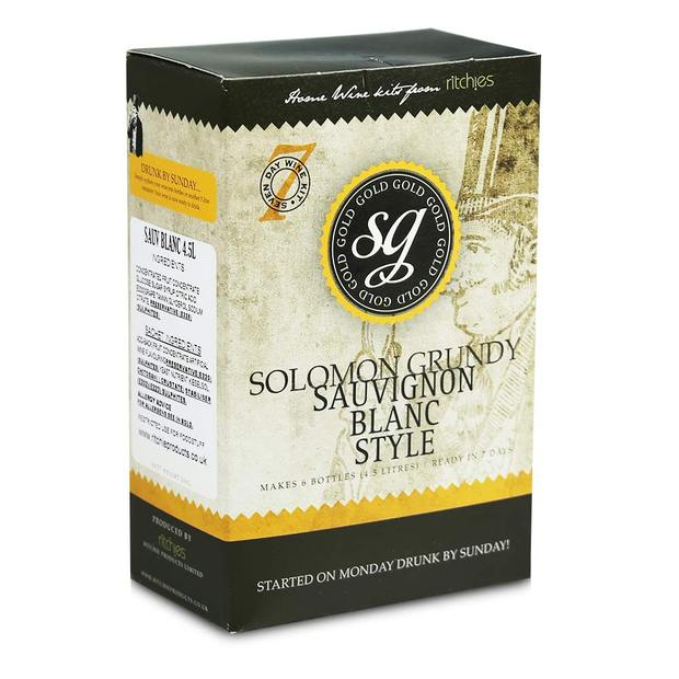 Solomon Grundy Gold - Sauvignon Blanc - 7 Day White Wine Kit - 6 Bottle