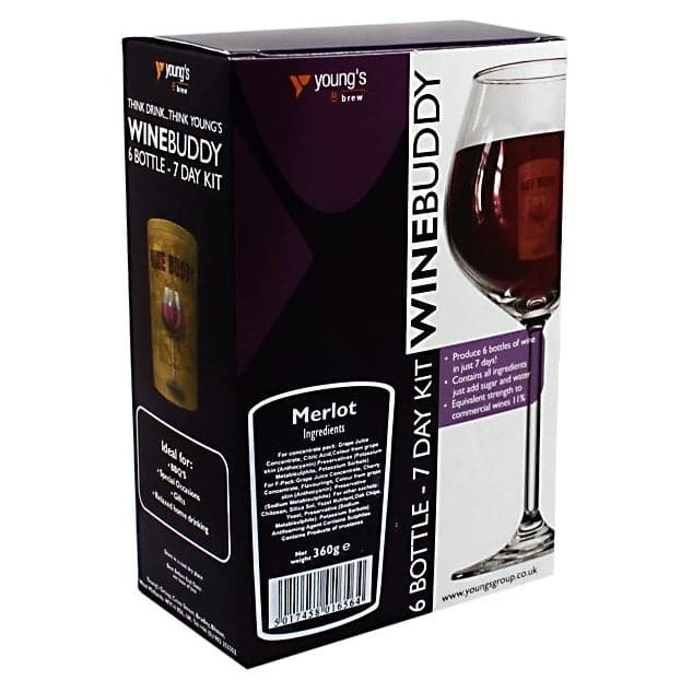 WineBuddy - Merlot - 7 Day Wine Kit - 6 Bottles
