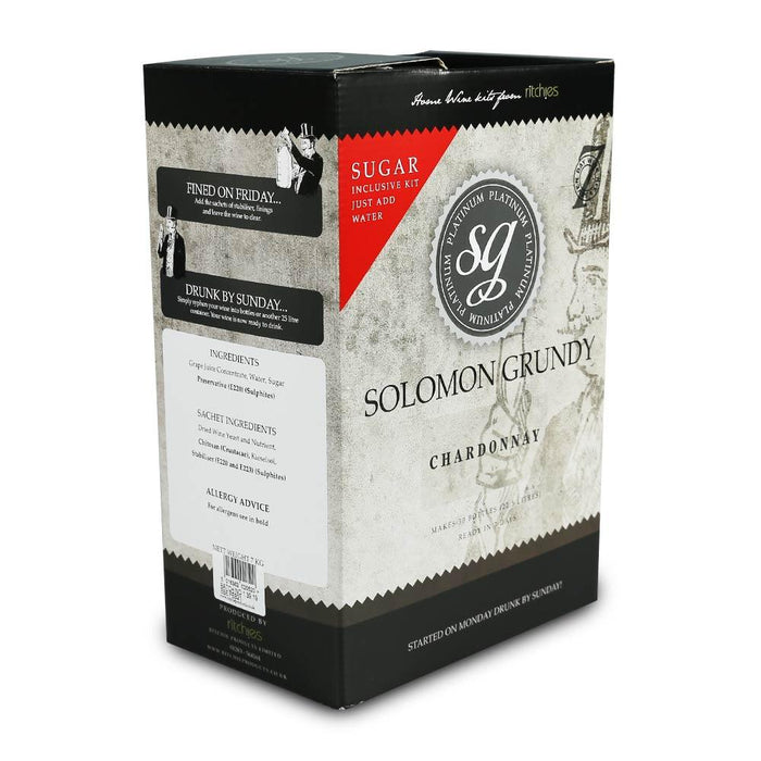 Solomon Grundy Platinum - Chardonnay - 30 Bottle White Wine Kit