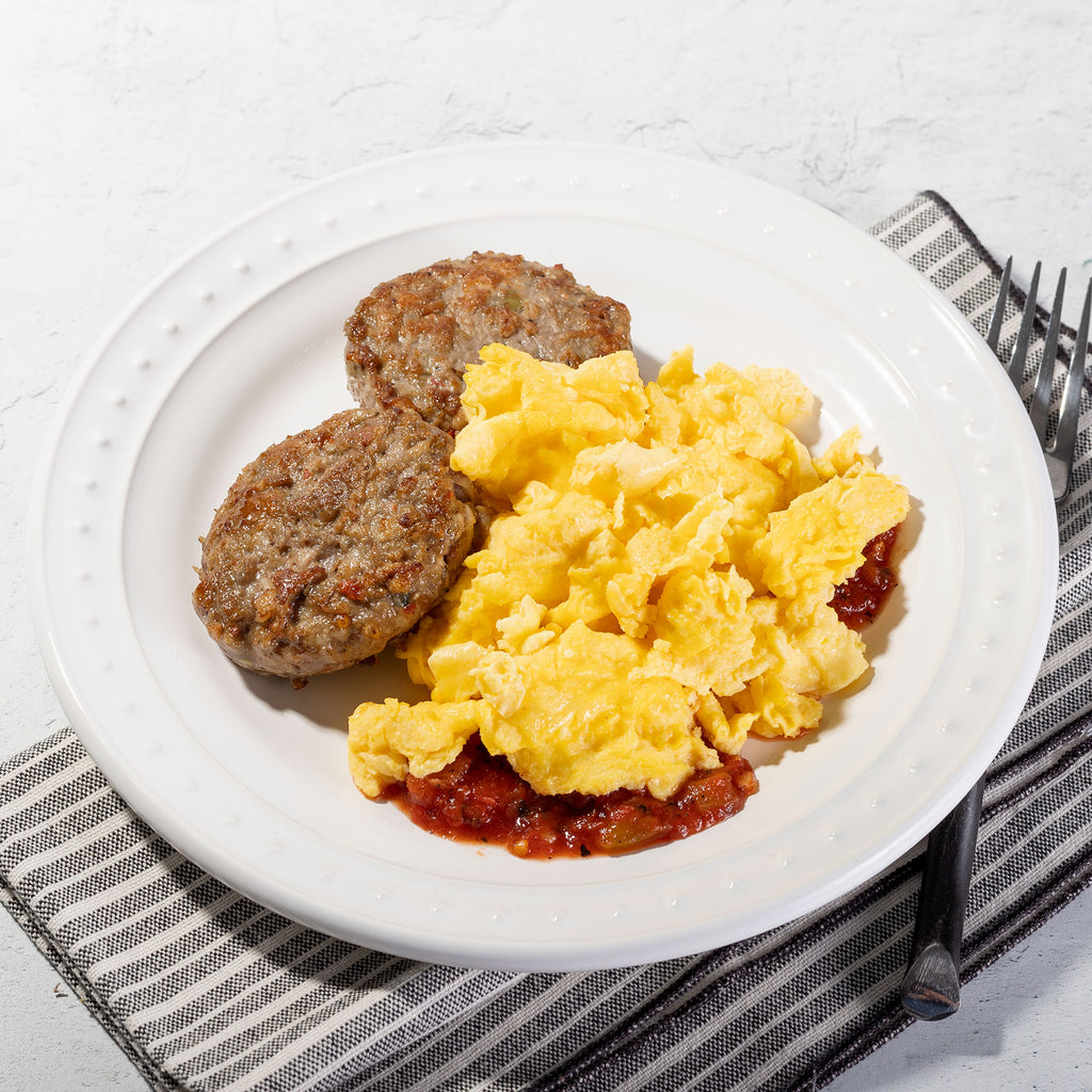 Apple Sausage and Eggs with Fire Roasted Salsa