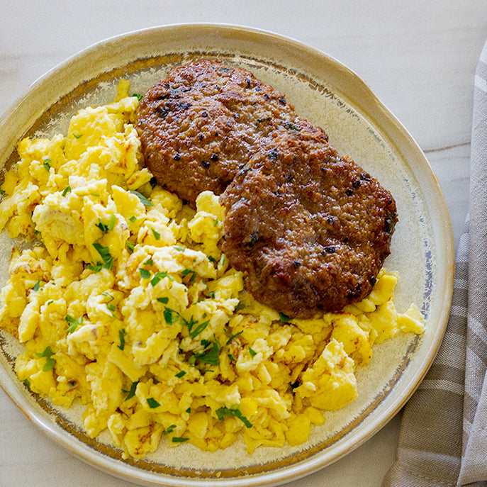 Turkey Sausage Patties, Scrambled Eggs, Sriracha