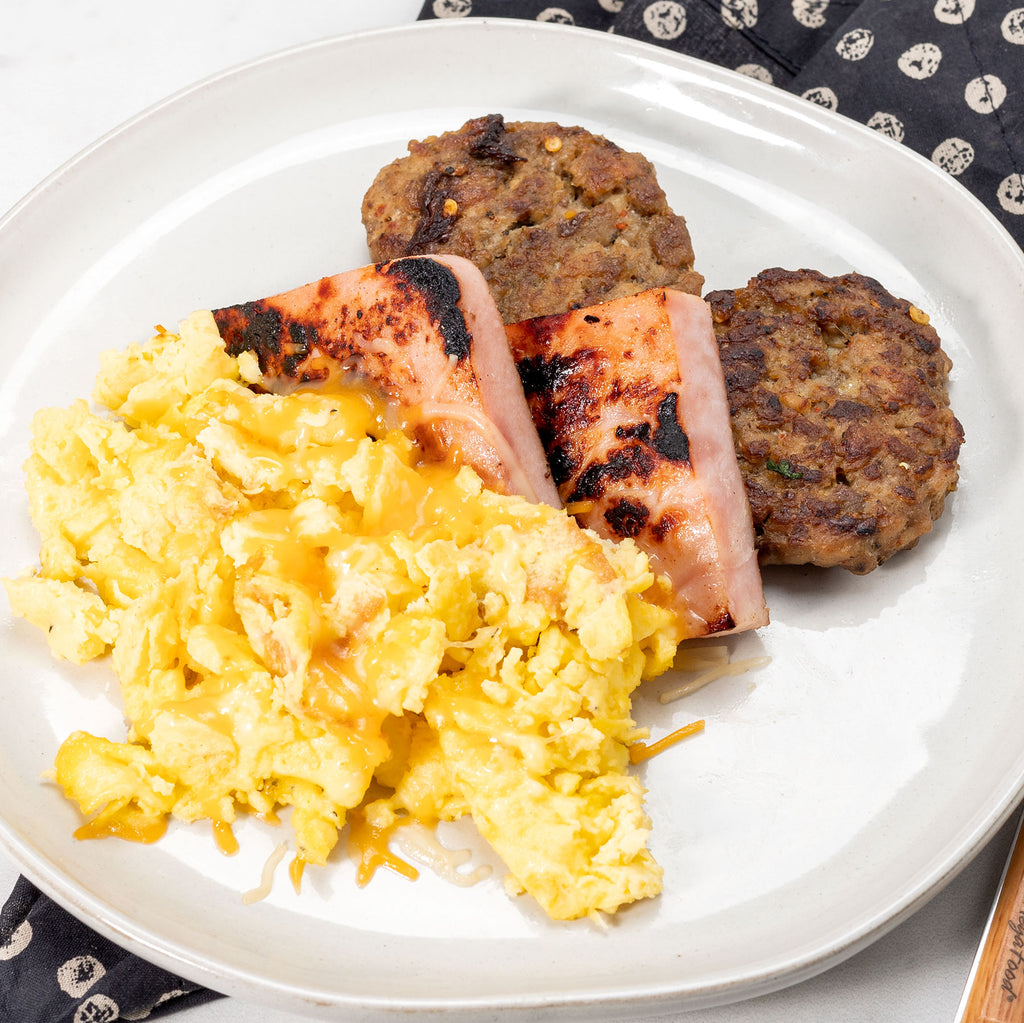 Breakfast Meat Feast with Cheesy Eggs