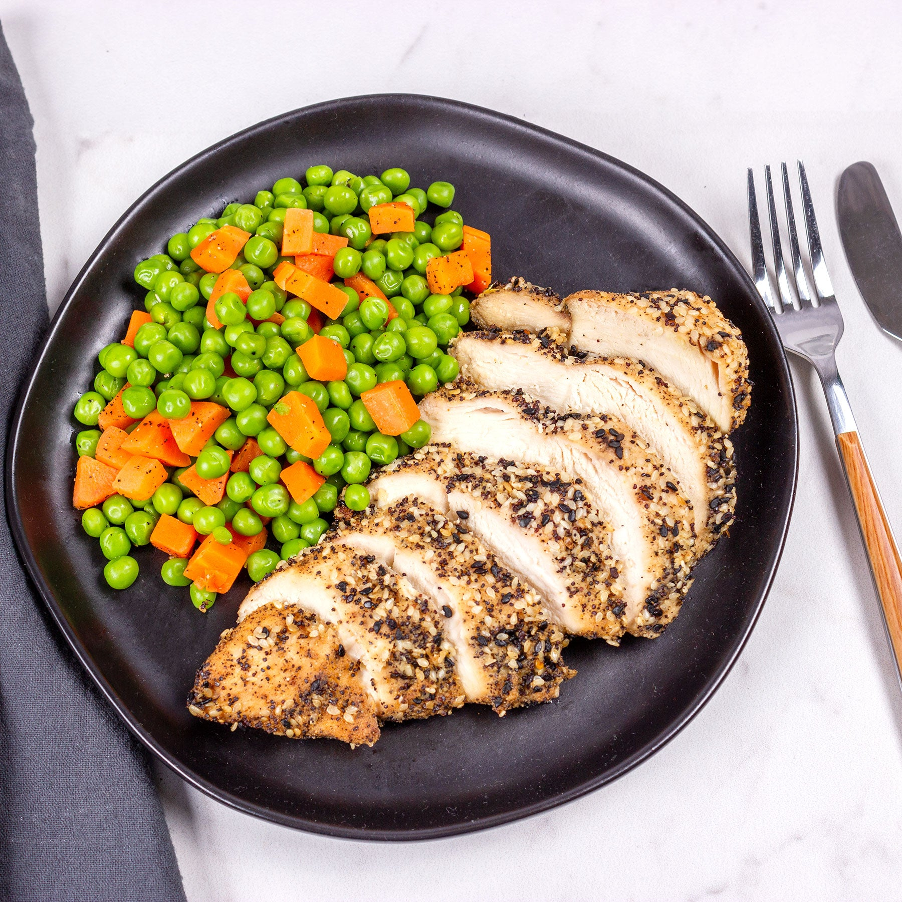 Everything Chicken with Peas and Carrots