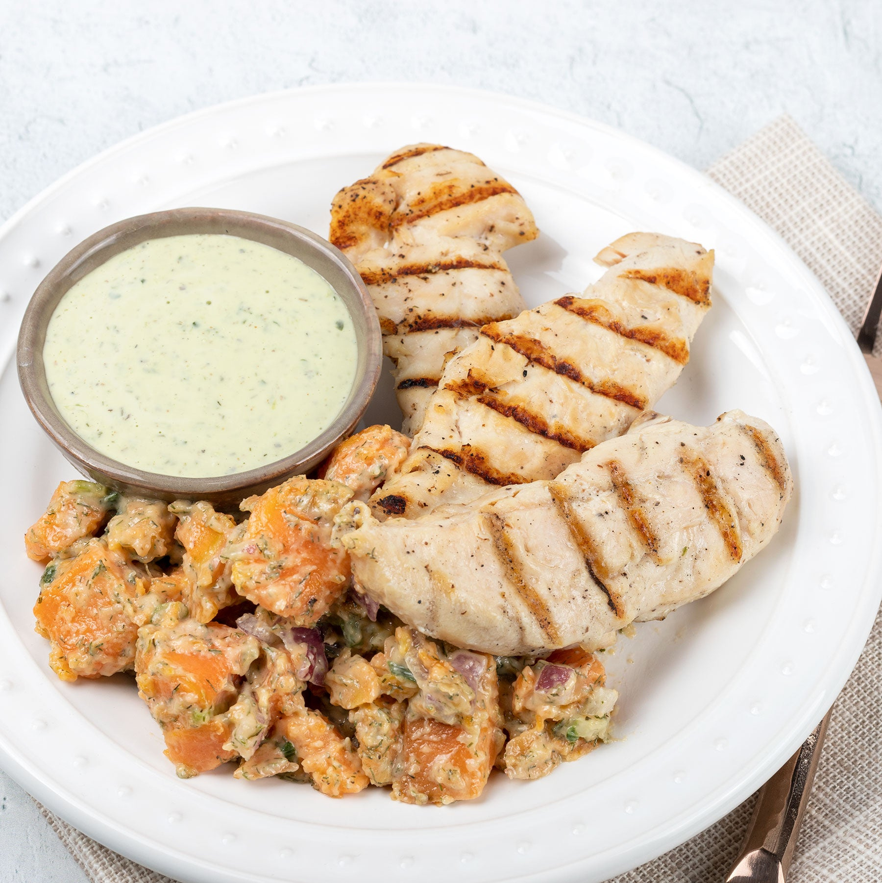 Flame-Grilled Chicken Tenders with Sweet Potato Salad