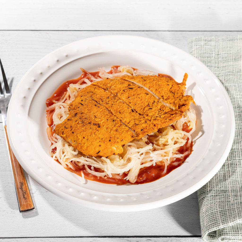 Fried Chicken with Spaghetti Squash and Marinara