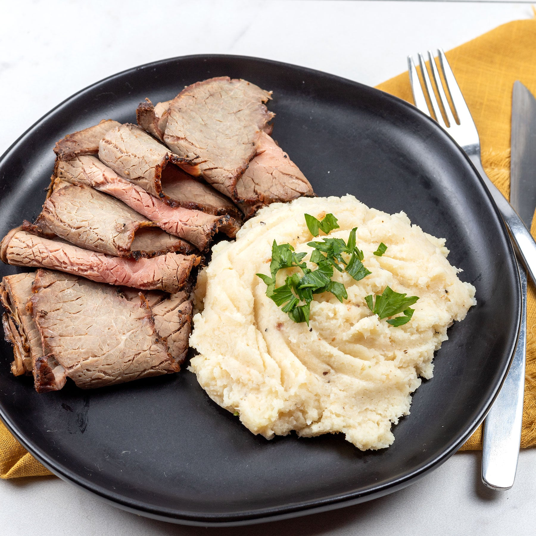 Salt & Pepper Crusted Steak and Keto Mash