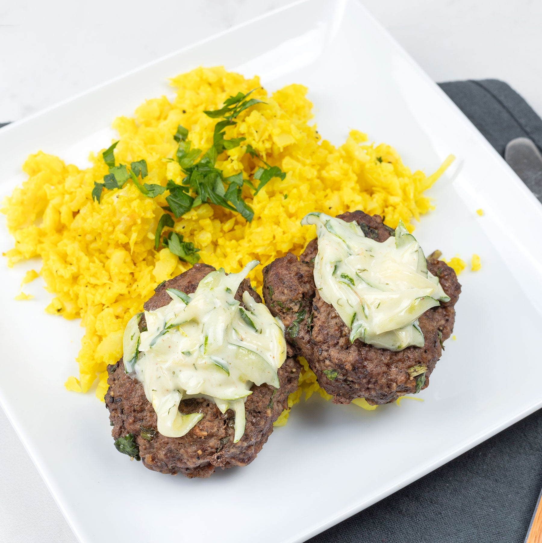 Gyro Sliders with Cauliflower Rice and Tzatziki Sauce