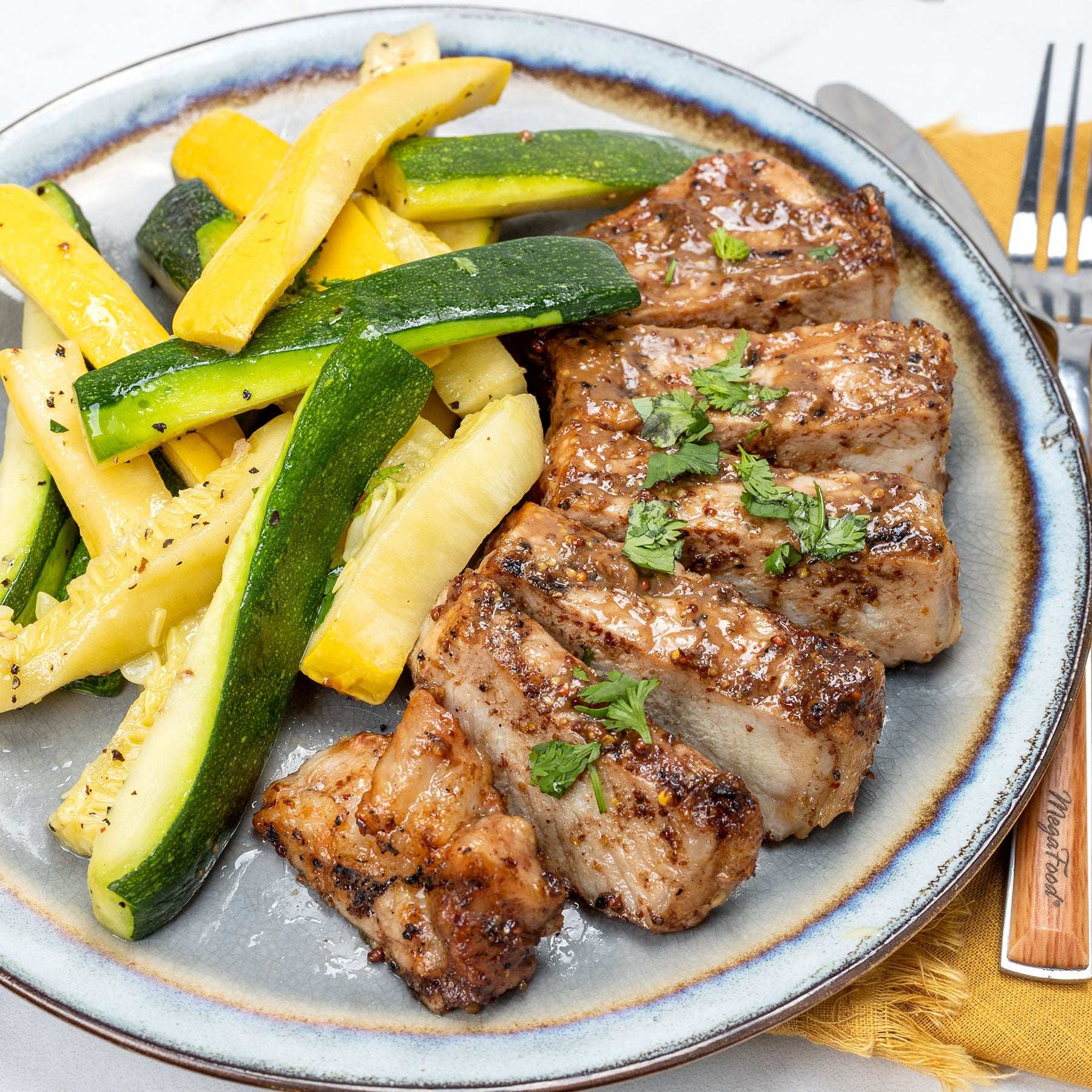 Mustard Balsamic Pork Chop with Zucchini