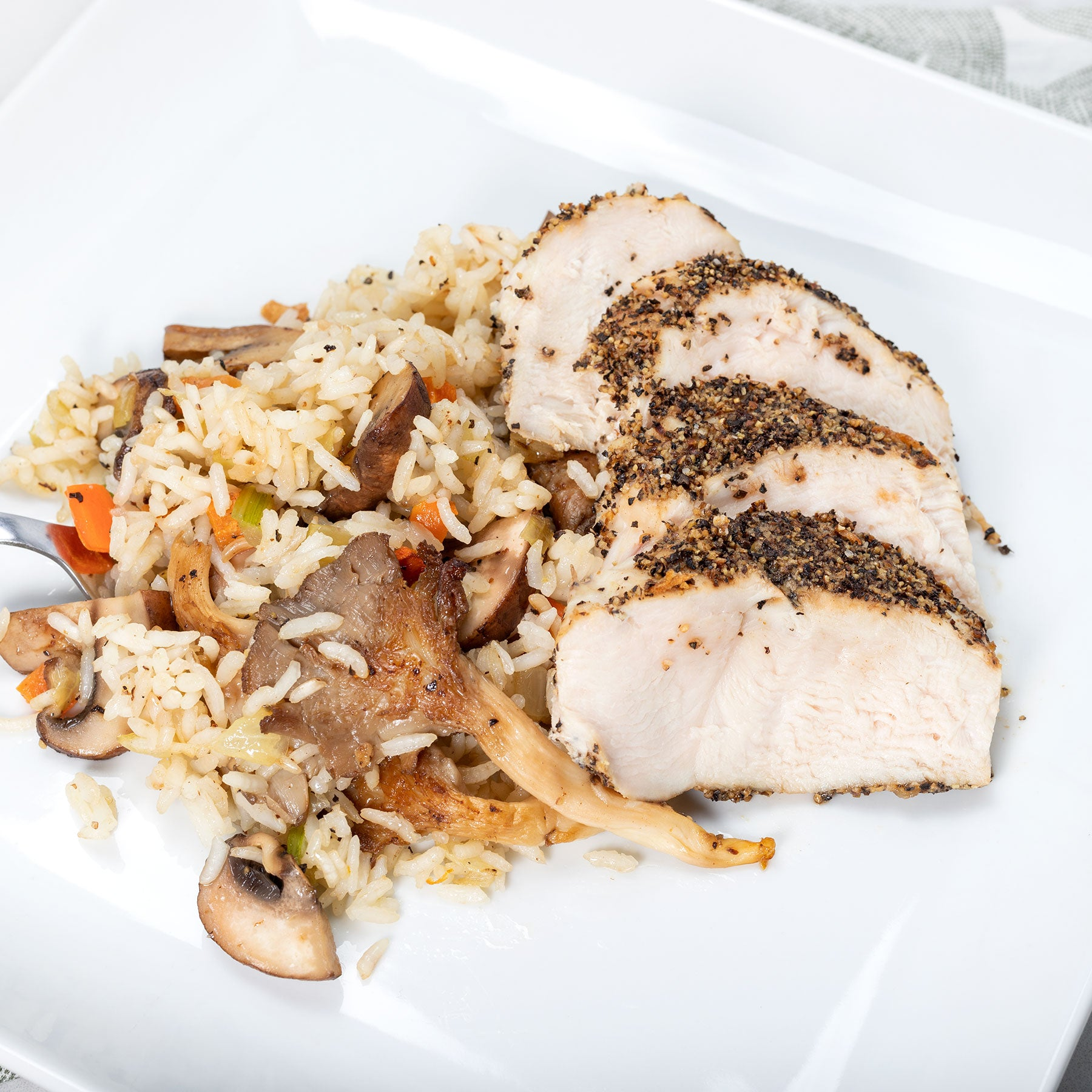 Peppercorn Chicken with Mushroom Rice Pilaf