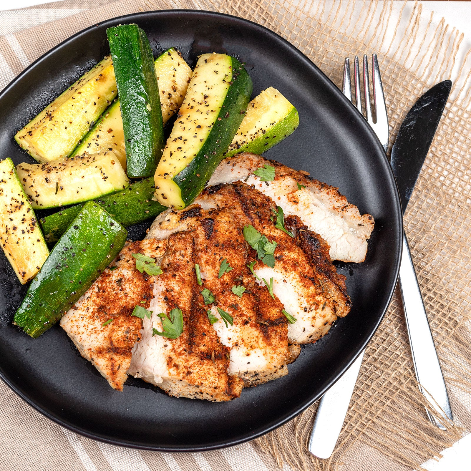 Dry Rub Pork Steaks, Black Pepper Zucchini