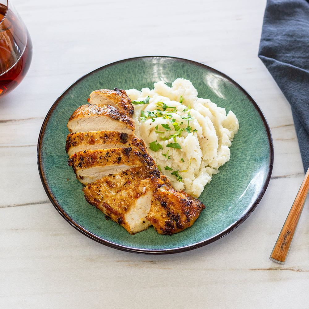 Roast Chicken Mashed Cauliflower Potatoes and Gravy
