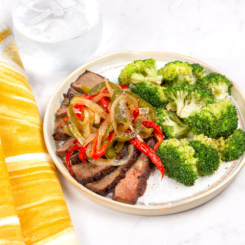 Steak Tips, Peppers, Onion and Roasted Broccoli