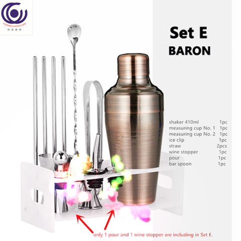 13 in1 kit Wine regulator Cocktail Shaker cup Professional Premium Barware Set Martini Drink Mixer 400/550/510/750ml bar tool