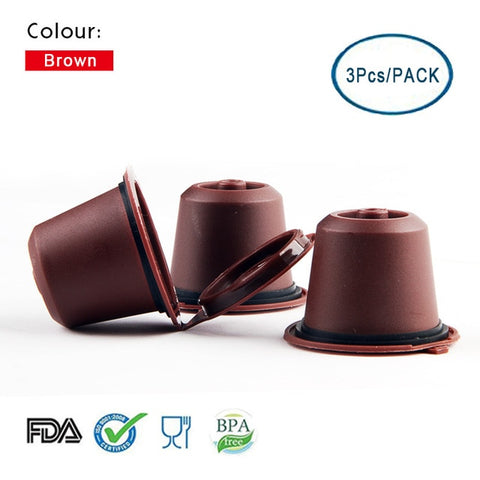 Image of 3pcs/pack Nespresso Coffee Capsule Refillable Reusable cafe Pods Plastic Filter For Original Line Nespresso machine Coffeeware