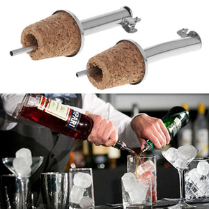 Stainless Steel Liquor Spirit Wine Bottle Flow Pourer Spout Stopper Cork Barware Bar Household Party