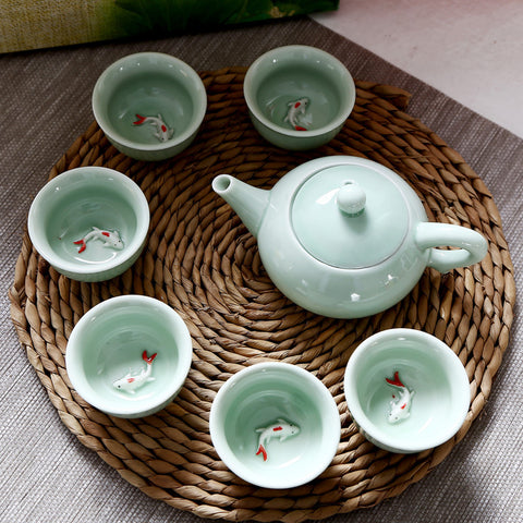 Chinese Kung Fu Teaware Set Portable Ceramic Porcelain Teaset Teapot Tea Cups Of Tea Ceremony Home Decor Good Gift for Friend