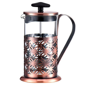 600ml Coffee Pot Stainless Steel Vintage Manual Coffee Maker Glass Teapot Coffee Tea Percolator Filter Press Plunger Coffeeware
