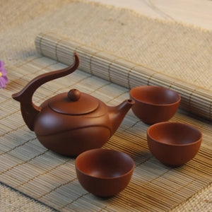 Zisha Teapot Chinese Teapot Cup Set Yixing Purple Clay 120ml + 3 Cups 40ml Kung Fu Teaware Sets Teapots Handmade Ceramic Kettle