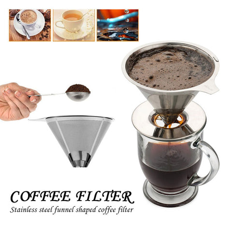 Stainless Steel Coffee Filter Pour Over Coffee Funnel Brew Drip Tea Filters Metal Mesh Basket Tool Reusable Kitchen Coffeeware