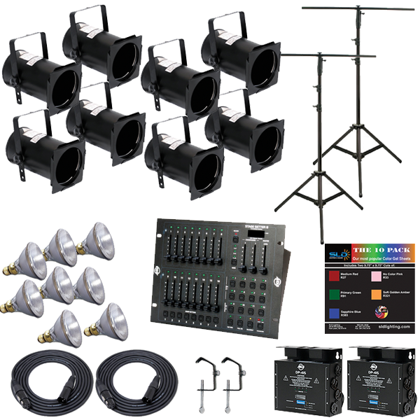 Stage System 1 PAR38 Lighting Package with 8 Lights and Stands