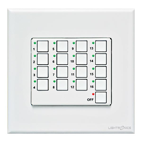 Lightronics AC2116 - 16 Scene Push Button Remote Station (Architectural)