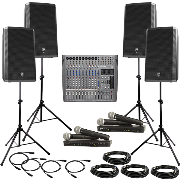 DELUXE PA Package with 4 Wireless Handheld Mics