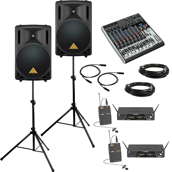 DELUXE PA Package with 2 Wireless Lavalier Mics