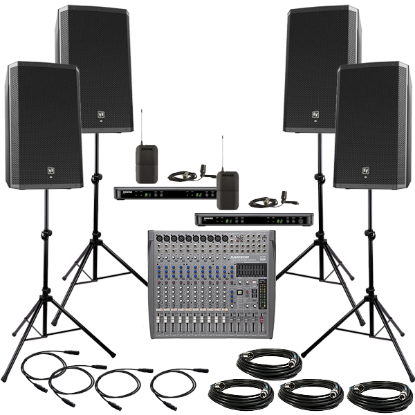 DELUXE PA Package with 4 Wireless Lavalier Mics