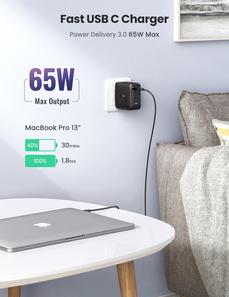 65W 4 Port 3C1A PD GaN Charger