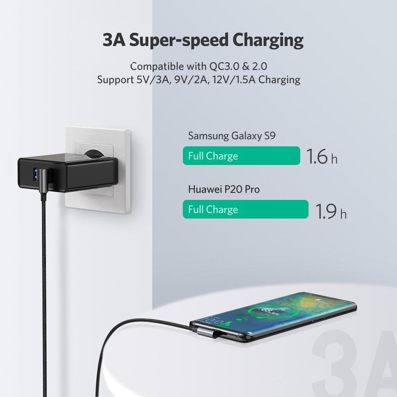 Right Angle USB C Quick Charging Cable