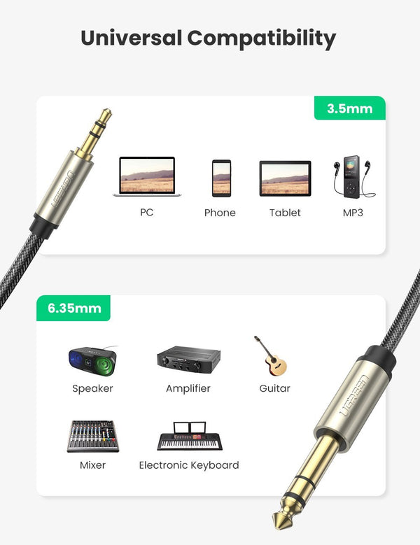 3.5mm TRS to 6.35mm TS Audio Cable