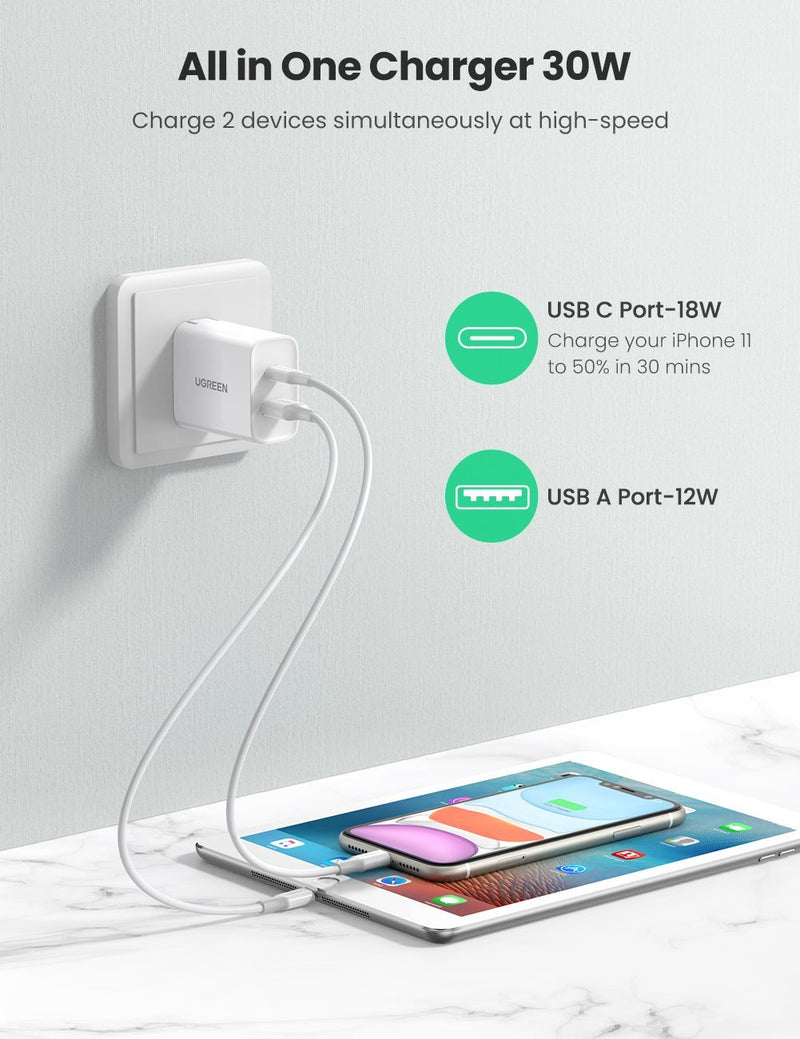 30W 2-Port USB C Wall Charger