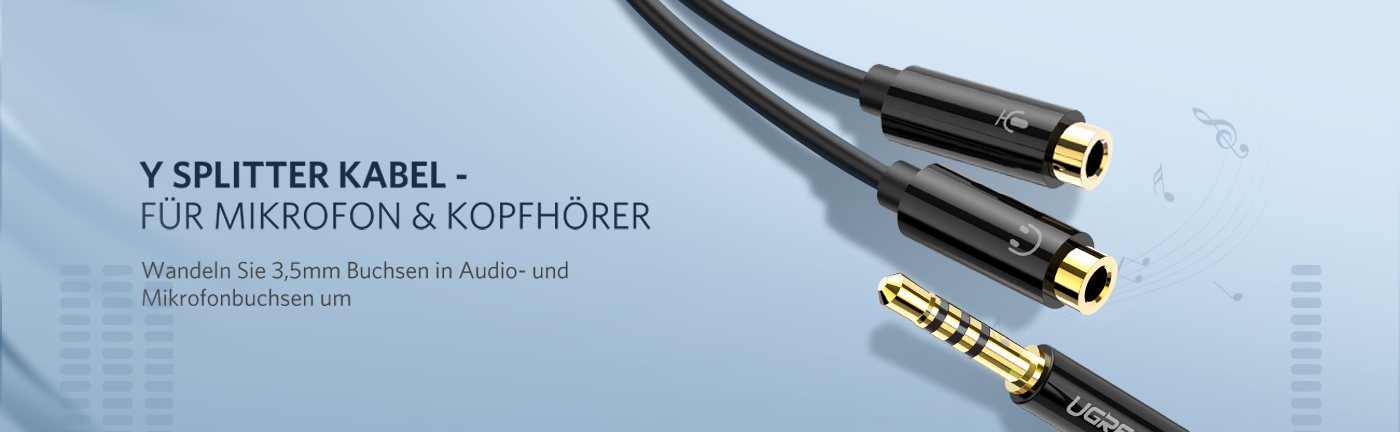 Headphone Splitter Cable with Mic