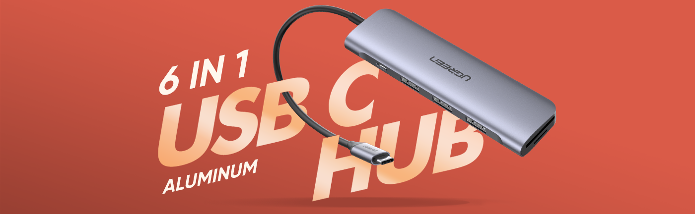 6-in-1 USB C Hub with SD Card Reader