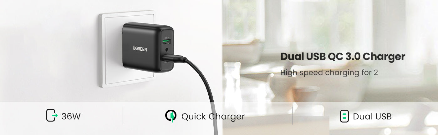2-Port 36W Quick Charger