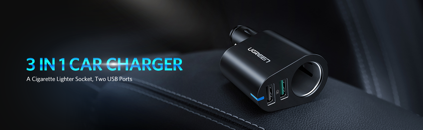 Dual USB QC 3.0 Car Charger with Socket