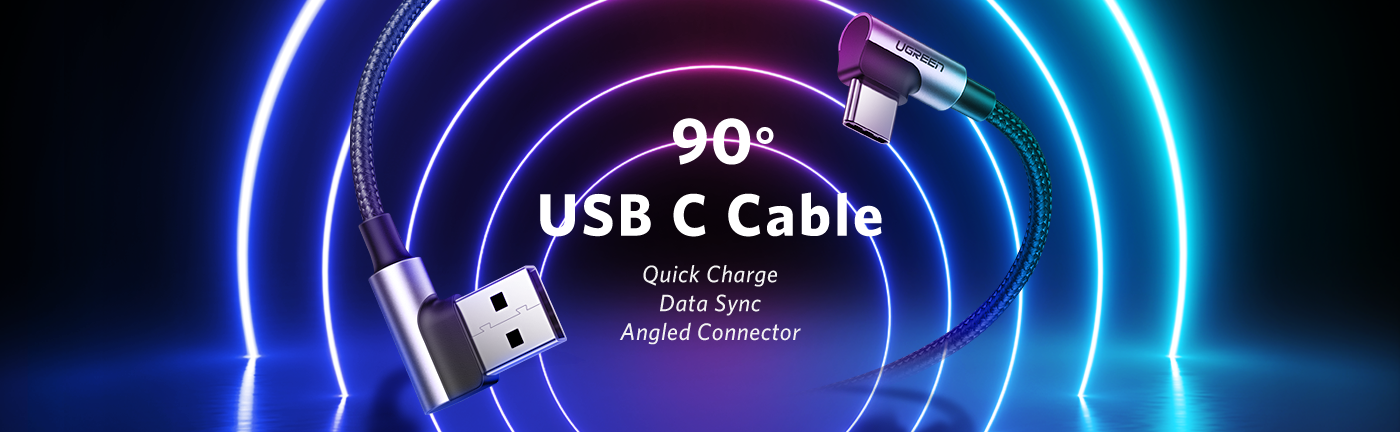 2 Pack Right Angle USB C Charging Cable