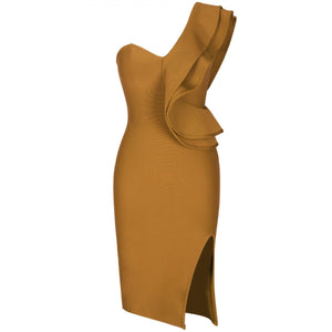 One Shoulder Sleeveless Frill Over Knee Bandage Dress PM1205 30 in wolddress