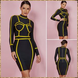 Halter Long Sleeve Striped Mini Bandage Dress PF0802 13 in wolddress
