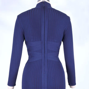 Round Neck Long Sleeve Striped Over Knee Bandage Dress PF1201 8 in wolddress
