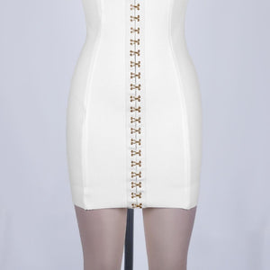 Strapless Sleeveless Metal Buckle Mini Bandage Dress PF19117 7 in wolddress