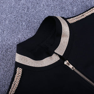 Round Neck Long Sleeve Metal Studded Bandage Jacket PP1115 31 in wolddress