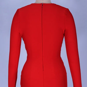 V Neck Long Sleeve Girdle Over Knee Bandage Dress PF19127 8 in wolddress