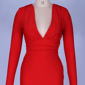 V Neck Long Sleeve Girdle Over Knee Bandage Dress PF19127 7 in wolddress