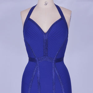 Halter Sleeveless Striped Over Knee Bandage Dress PP19217 8 in wolddress